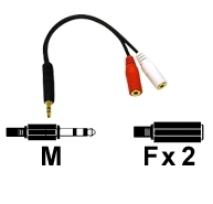 AV kabel 3.5mm Male to 2-3.5mm Female Audio